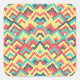 Contemporay Flats Zigzag Symmetric Peeks Pattern Square Stickers