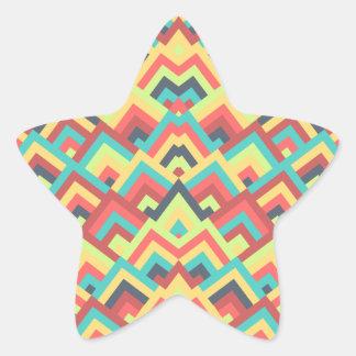 Contemporay Flats Zigzag Symmetric Peeks Pattern Star Sticker