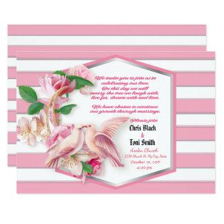 Contemporay Pnk Stripes Floral Doves Wedding Invit Card