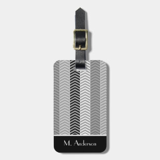 Contempory Black White Chevron Stripes With Name Bag Tag