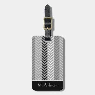 Contempory Black White Chevron Stripes With Name Luggage Tag