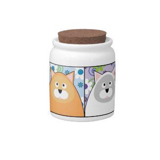 Content Cat Treat Jar Ceramic Candy Jar