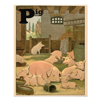 Contented Pigs on the Farm Alphabet Art Photo