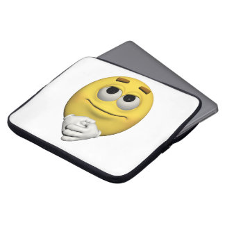 contentment emoticon laptop sleeve