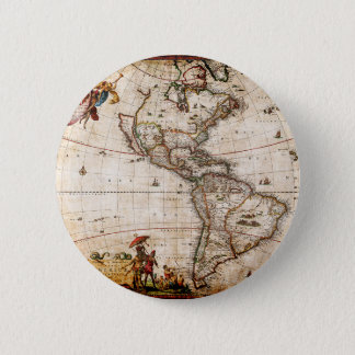 Continent of America Old Map 6 Cm Round Badge