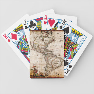 Continent of America Old Map Bicycle Playing Cards