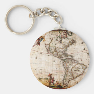 Continent of America Old Map Key Ring