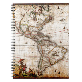 Continent of America Old Map Notebooks