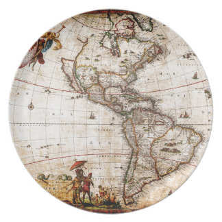 Continent of America Old Map Plate