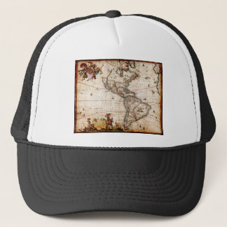 Continent of America Old Map Trucker Hat