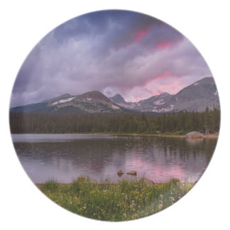 Continental Divide Stormy Rainy Sunset Sky Plate
