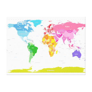 Continents World Map Canvas Prints