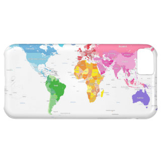 Continents World Map iPhone 5C Covers