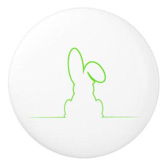 Contour of a hare light green ceramic knob
