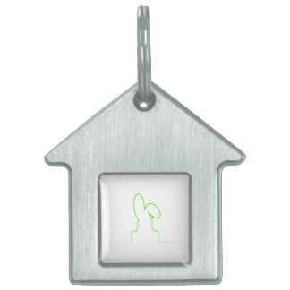 Contour of a hare light green pet name tag
