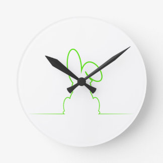 Contour of a hare light green round clock