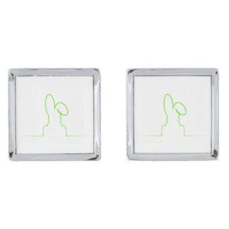 Contour of a hare light green silver finish cuff links