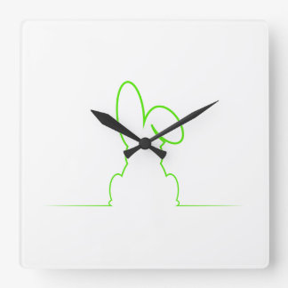 Contour of a hare light green square wall clock