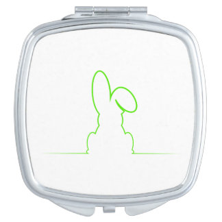 Contour of a hare light green travel mirror