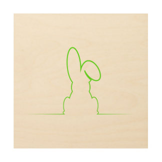 Contour of a hare light green wood print