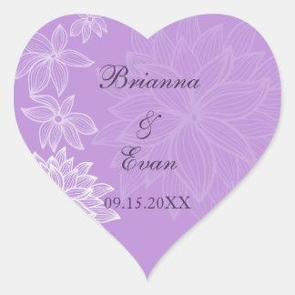 Contoured Bloom Lilac Wedding Sticker