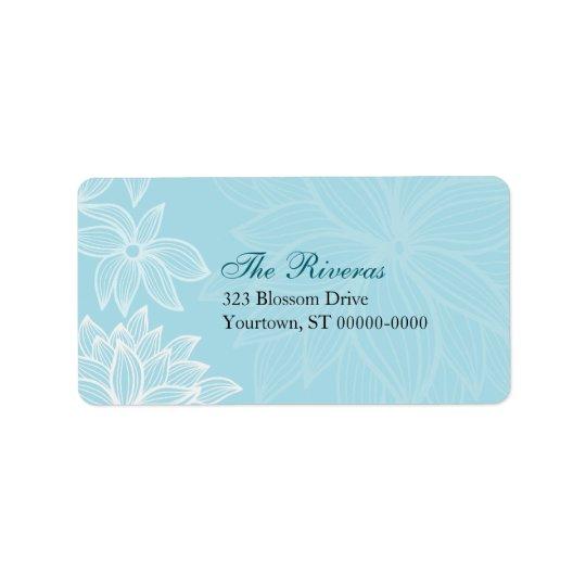 Contoured Bloom Sapphire Wedding Address Label