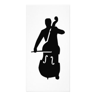 Contrabass player picture card