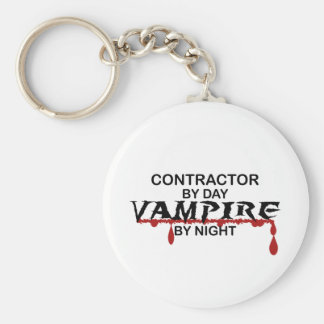 Contractor by Day, Vampire by Night Basic Round Button Key Ring