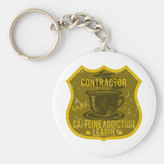 Contractor Caffeine Addiction League Basic Round Button Key Ring