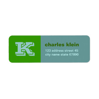 Contrast Colorblock Monogram Return Address Return Address Label