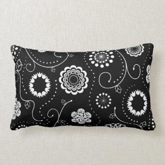 Contrast Flowers Lumbar Pillow