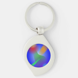 Contrast on Blue Silver-Colored Swirl Key Ring