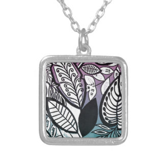 Contrast Sketch Tropical Floral Pink Turquoise Silver Plated Necklace