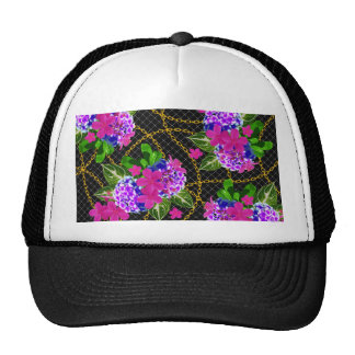 Contrasting Pink and Purple Floral & Chain Print Cap