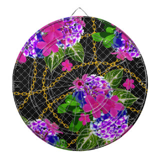 Contrasting Pink and Purple Floral & Chain Print Dartboard With Darts