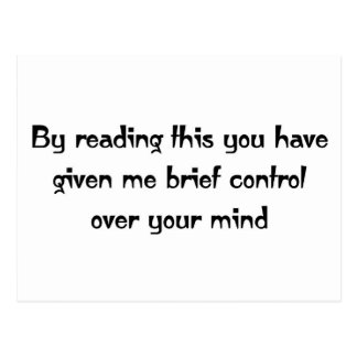 Control over your mind postcard