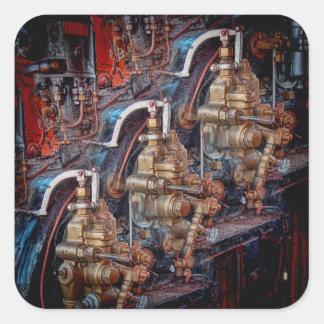 Controls of a steam locomotive engine sticker