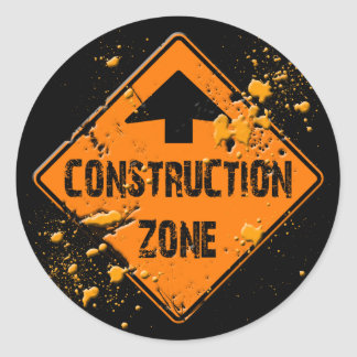 CONTRUCTION ZONE ROAD SIGN CLASSIC ROUND STICKER