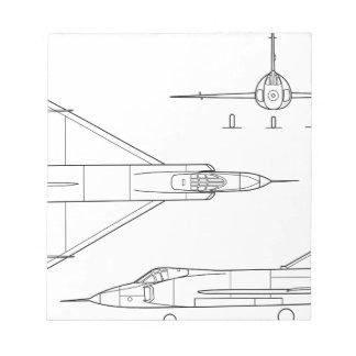Convair_YF-102_Delta_Dagger_3-view Notepad
