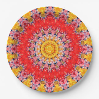 Convenient Red & Yellow Mandala Art Kaleidoscope Paper Plate