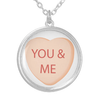 Conversation Heart Valentine Silver Plated Necklace