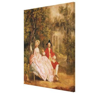 Conversation in a Park, portrait of the artist and Canvas Print