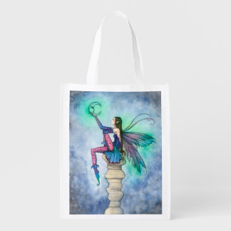 Conversation with the Moon Fairy Fantasy Art Reusable Grocery Bag