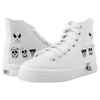 Converse white with caritas of skulls printed shoes
