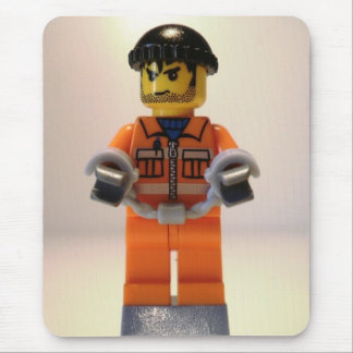 Convict Prisoner Custom Minifigure with Handcuffs Mouse Pad