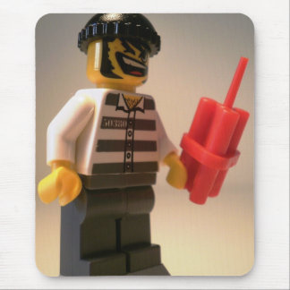 Convict Prisoner Minifig with Dynamite Sticks Mouse Pad