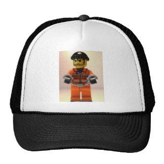 Convict Prisoner Minifig with Handcuffs Trucker Hat