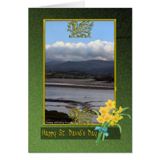 Conwy river mud flats Wales, St. David's Day, Phot Card