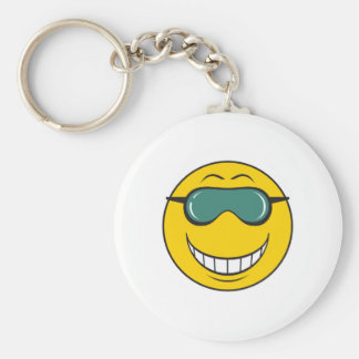 Cood Dude Smiley Face Basic Round Button Key Ring