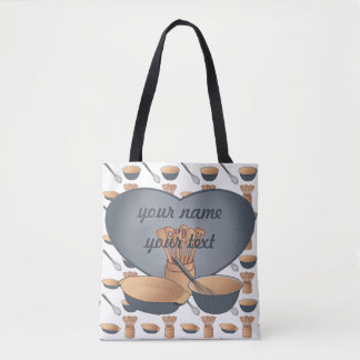 Cook Chef Heart Kitchen Slate Blue Tote Bag